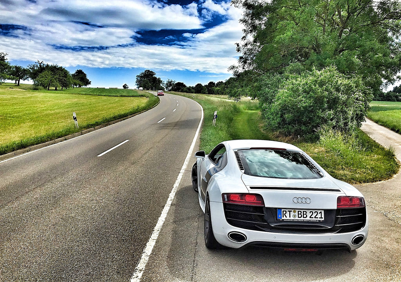 Sport car was spotted on the remote village