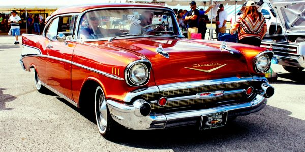 Beautiful cars are displayed on street