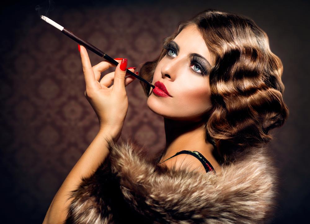 A smoker girl looks like an European