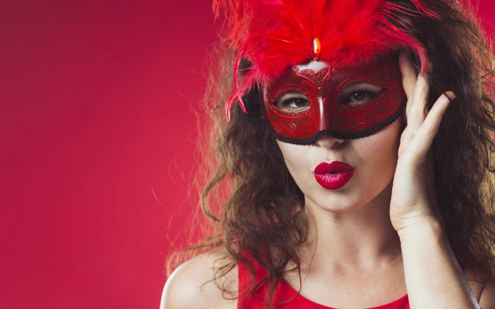 Red masks for a beautiful lady