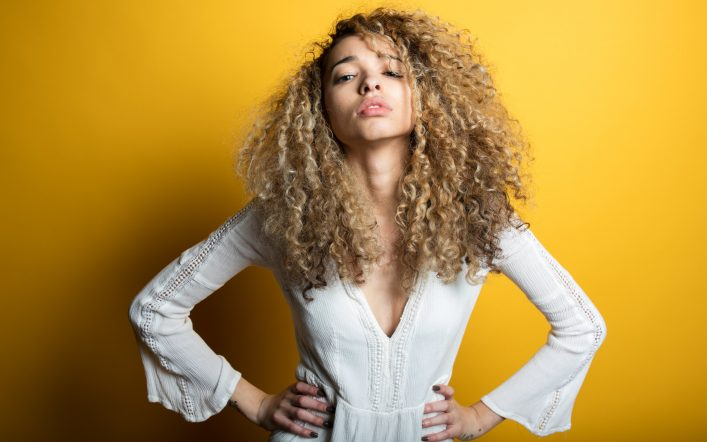 Looks with her Curly hair